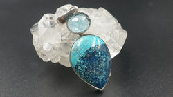 Shattuckite and blue topaz