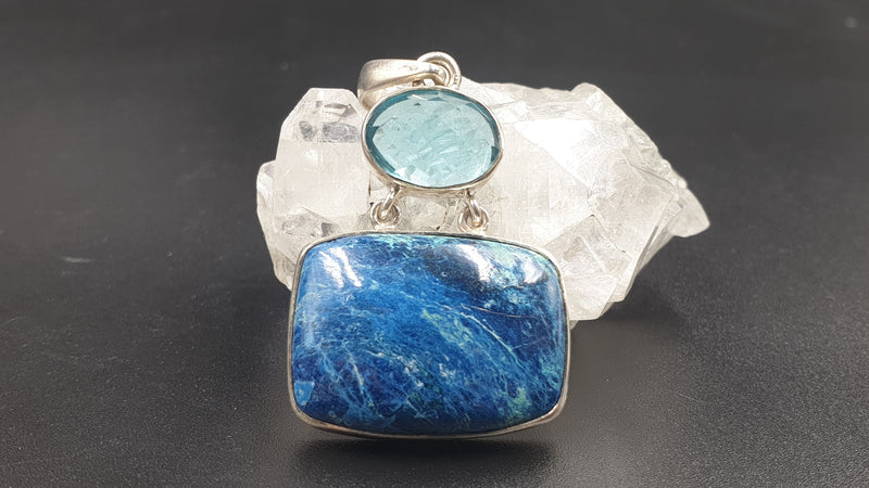 Shattuckite with blue topaz