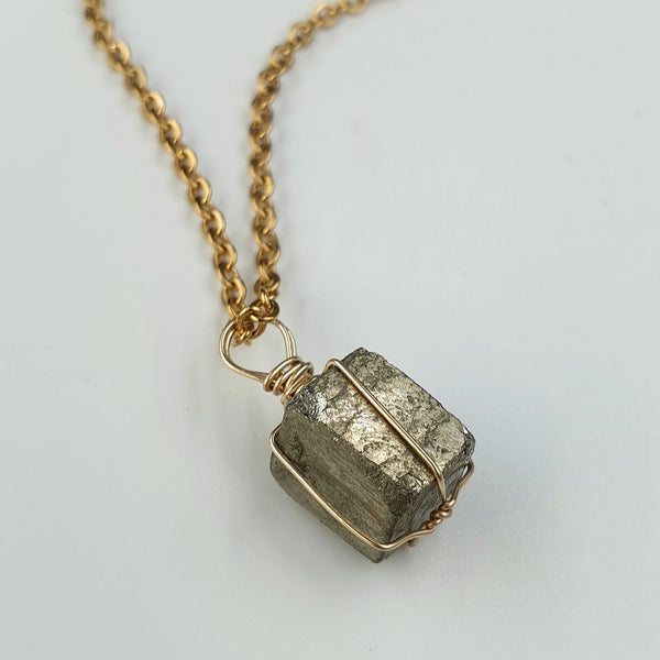 Pyrite Cube Pendant with Necklace