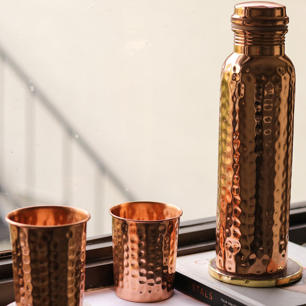 Copper water bottle with glass set