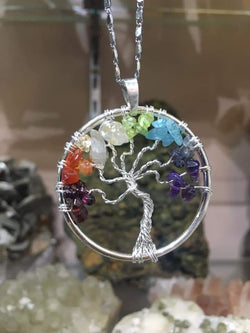 7 Chakra Tree of life Silver setting Pendant