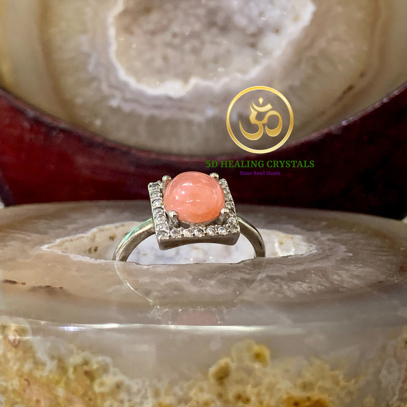 Sunstone ring 925 silver