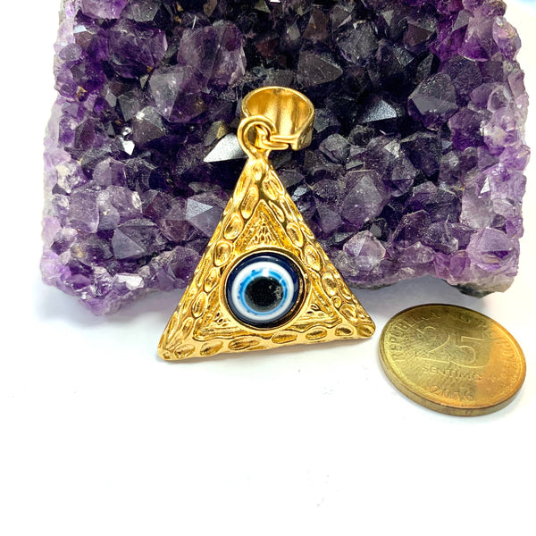 Egyptian Pyramid Charm with Evil Eye Pendant
