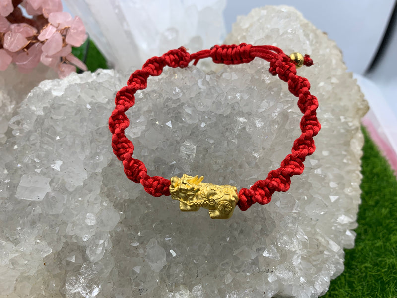 Red string with 24k gold pi yao