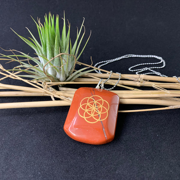 Seed Of Life Red Jasper Pendant
