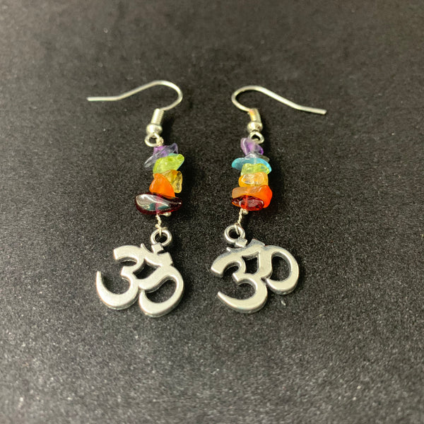 7 Chakra Earrings With OM Symbol