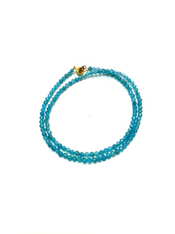 Blue apatite faceted choker