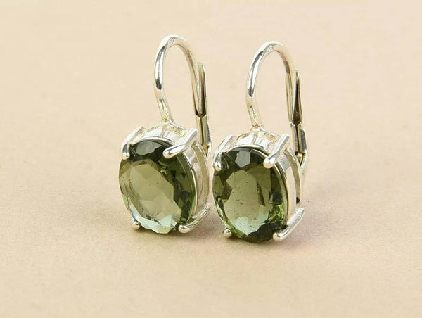 Moldavite earrings Oval cut