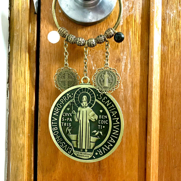 Saint Benedict door hanger with black tourmaline and selenite