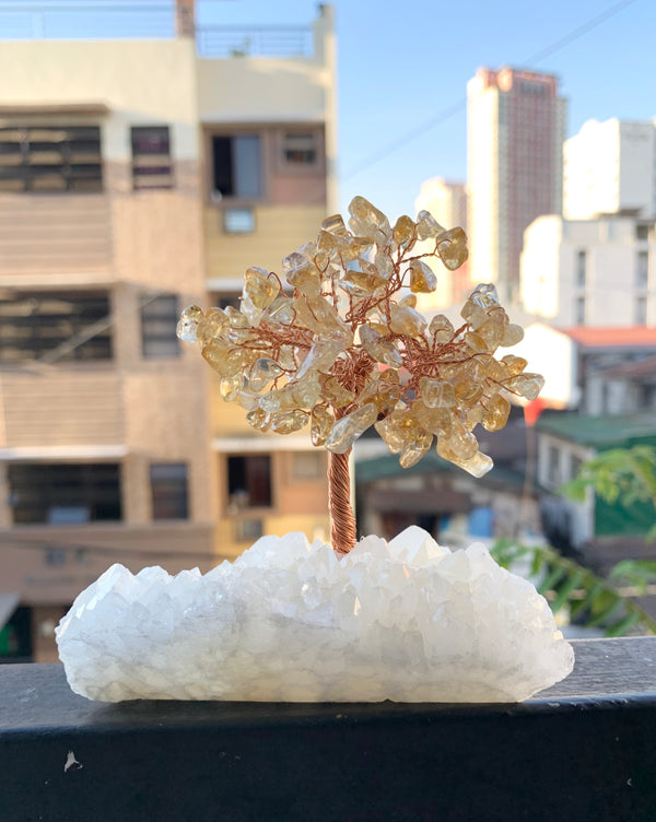 Citrine money tree with clear Quartz base