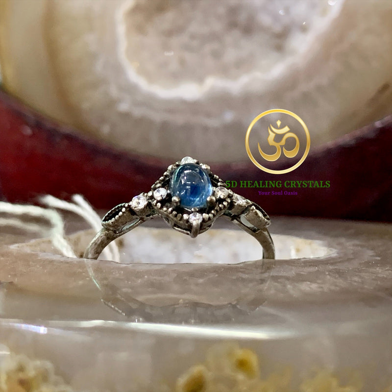Blue sapphire ring 925 silver