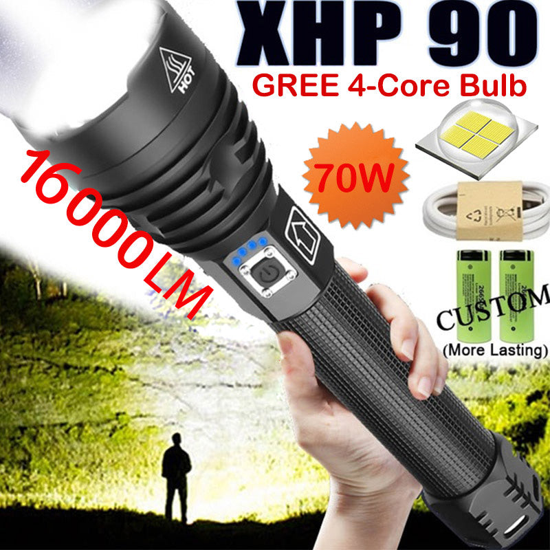 16000 lumen Flashlight CREE XHP90 LED Chips Outdoor Torch With 26650 Batteries