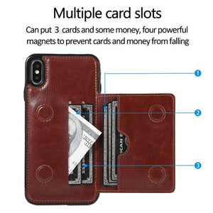Multifunctional Luxury Leather Wallet Case For iPhone & Samsung