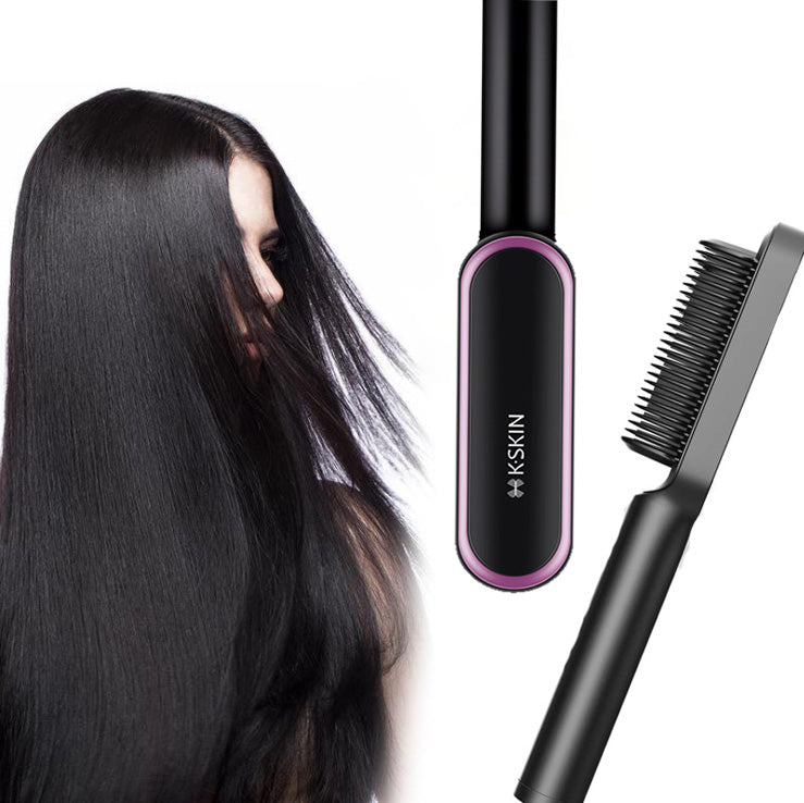 Hair Straightener Brush - Straightening Comb with Anti-Scald