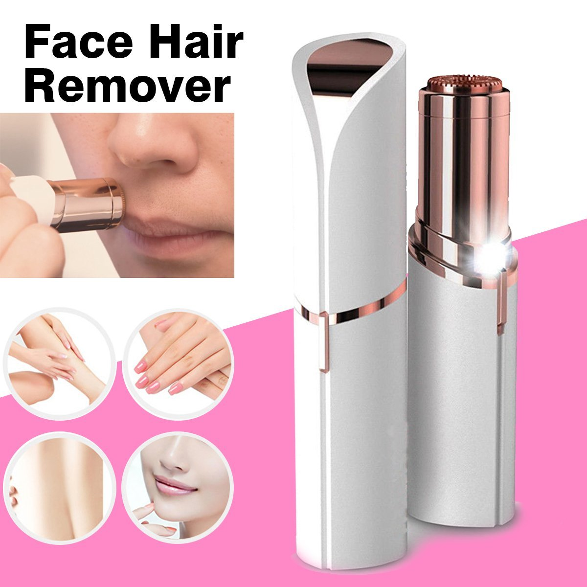 Flawless Instant Hair Remover™ Lipstick shape Electric eyebrow shaping device