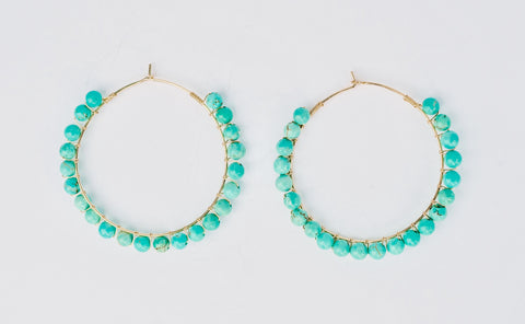 Bold Turquoise Beaded Hoops