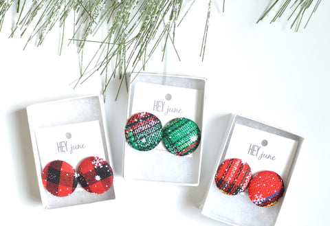 Christmas Plaid Studs