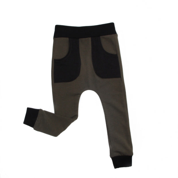Olive Joggers with Black Pockets