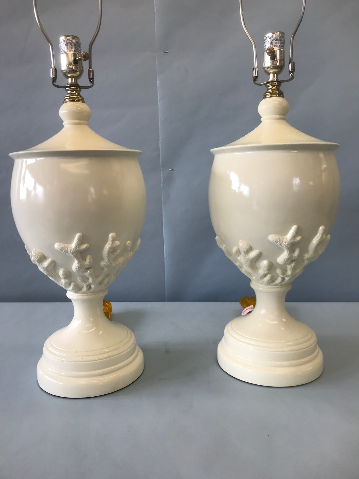Pair Cream Coral Motif Lamps