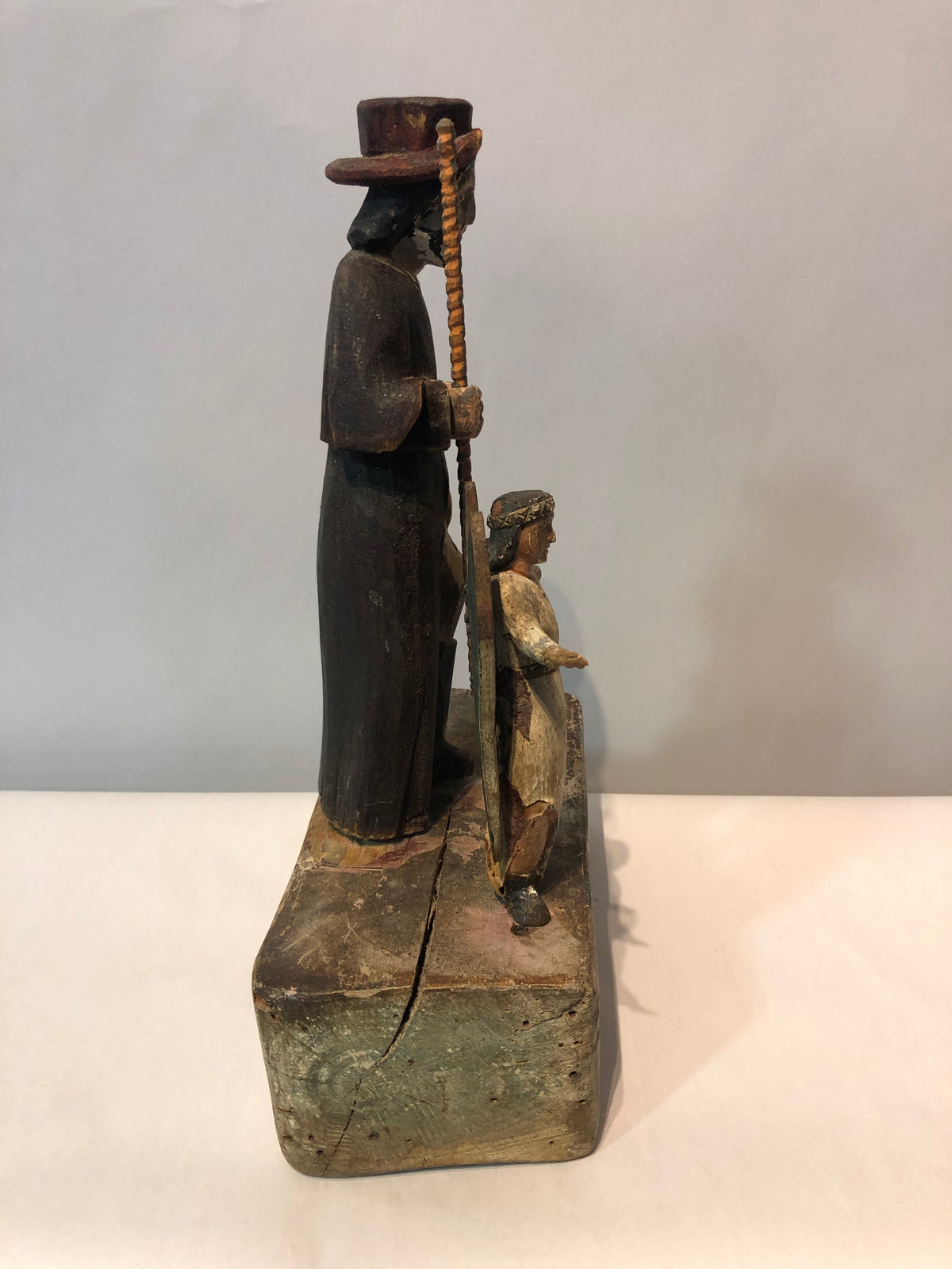 Antique Folk Art Wood Carved Sculpture