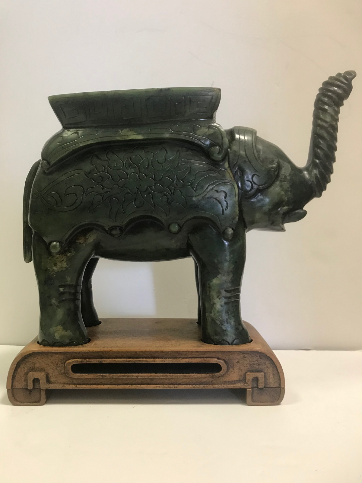 Jade Elephant on Stand