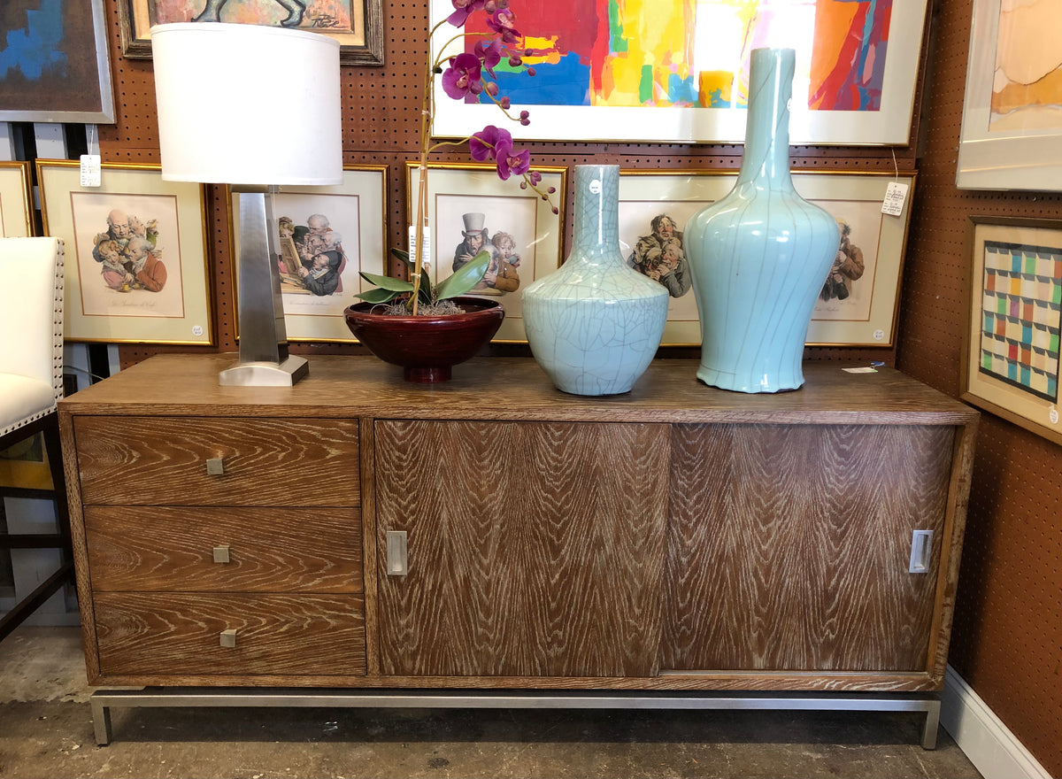 Modern Pickled Wood Credenza