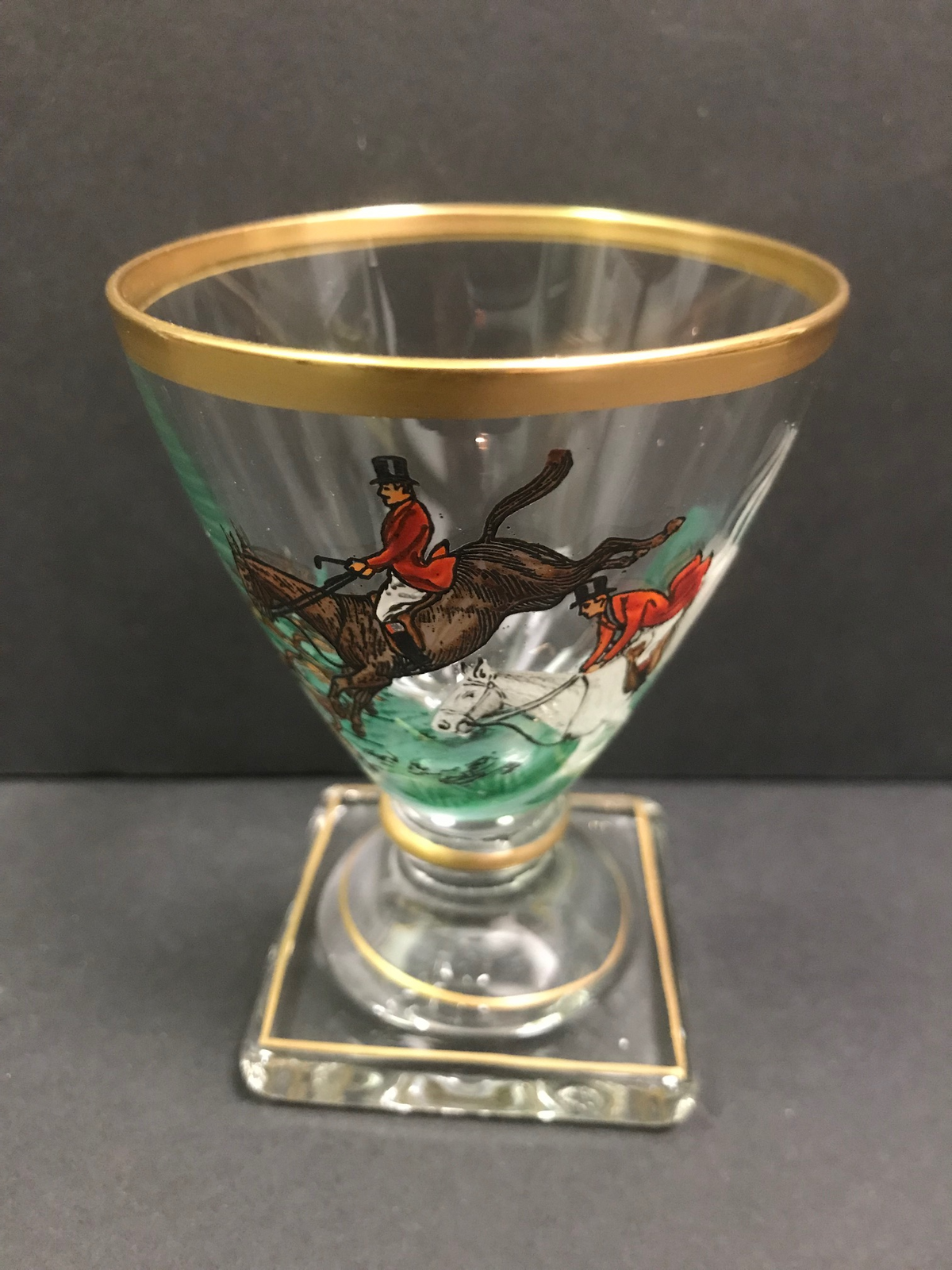 Set of Twelve Fox Hunt Stemmed Glasses