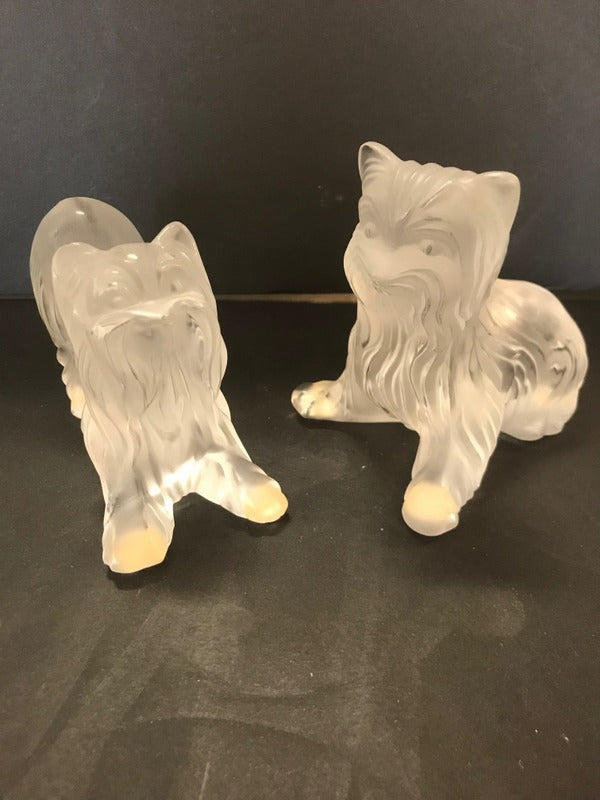 "Lalique Cristal France A Pair of Sweet""Yorkies"""