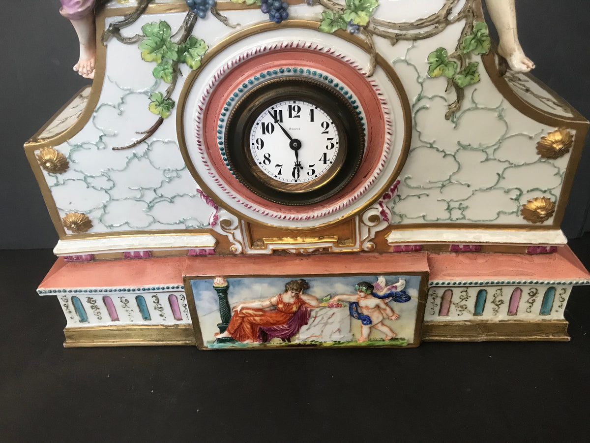19th Century Bacchus with Maidens Capodimonte Style Porcelain Clock