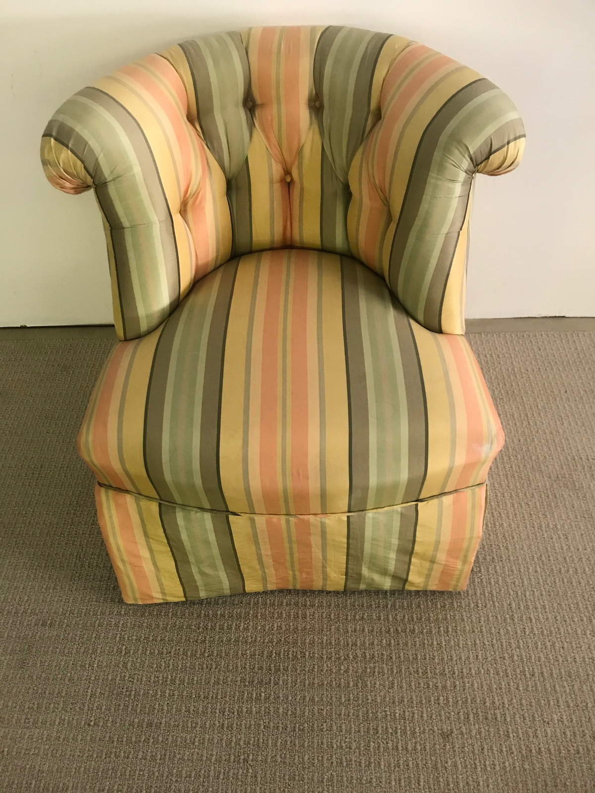 Striped Upholstered Slipper Chair