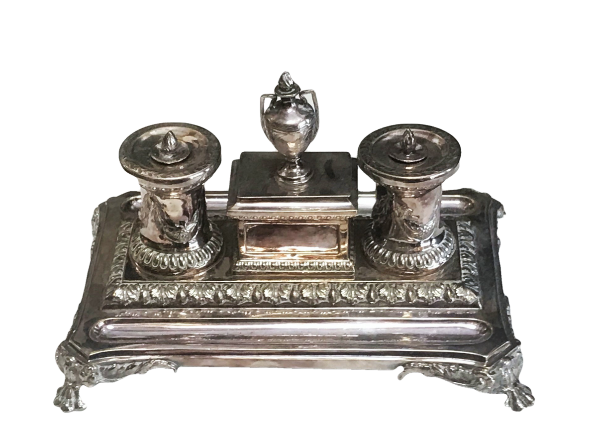 Silver Inkwell, England. 19th. C.
