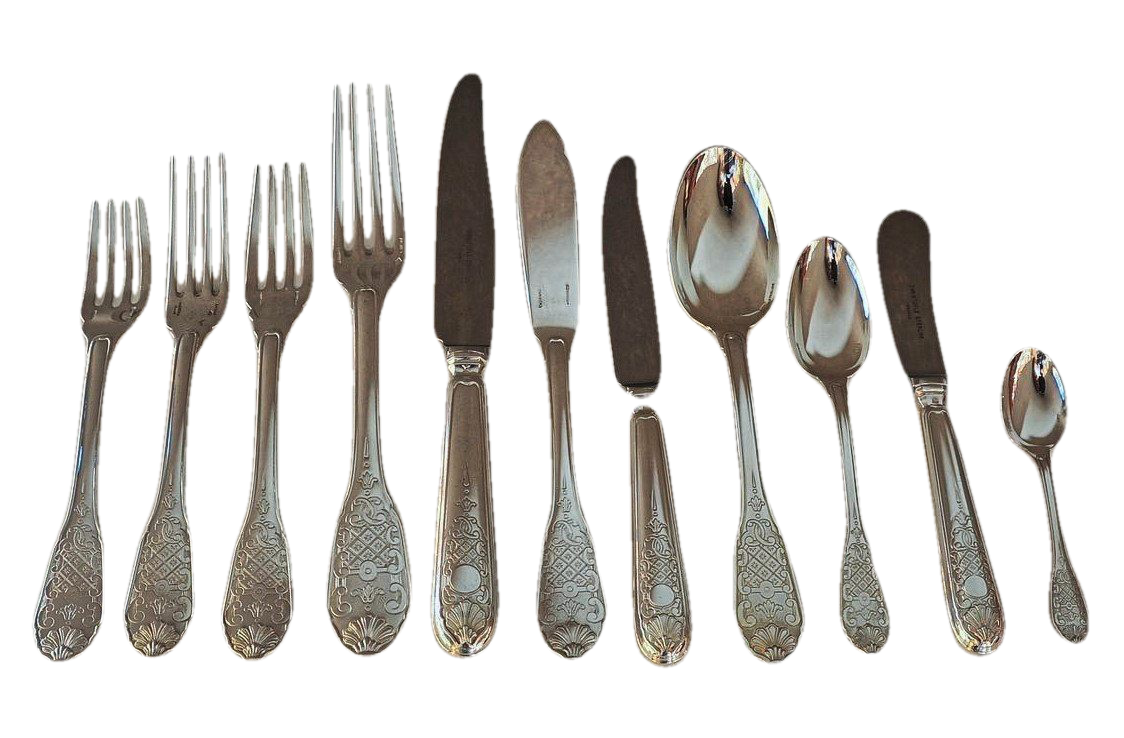 "Christofle Cardeilhac ""Royal Cisele"" Sterling Silver Flatware Service for 18, French, 20th Century"