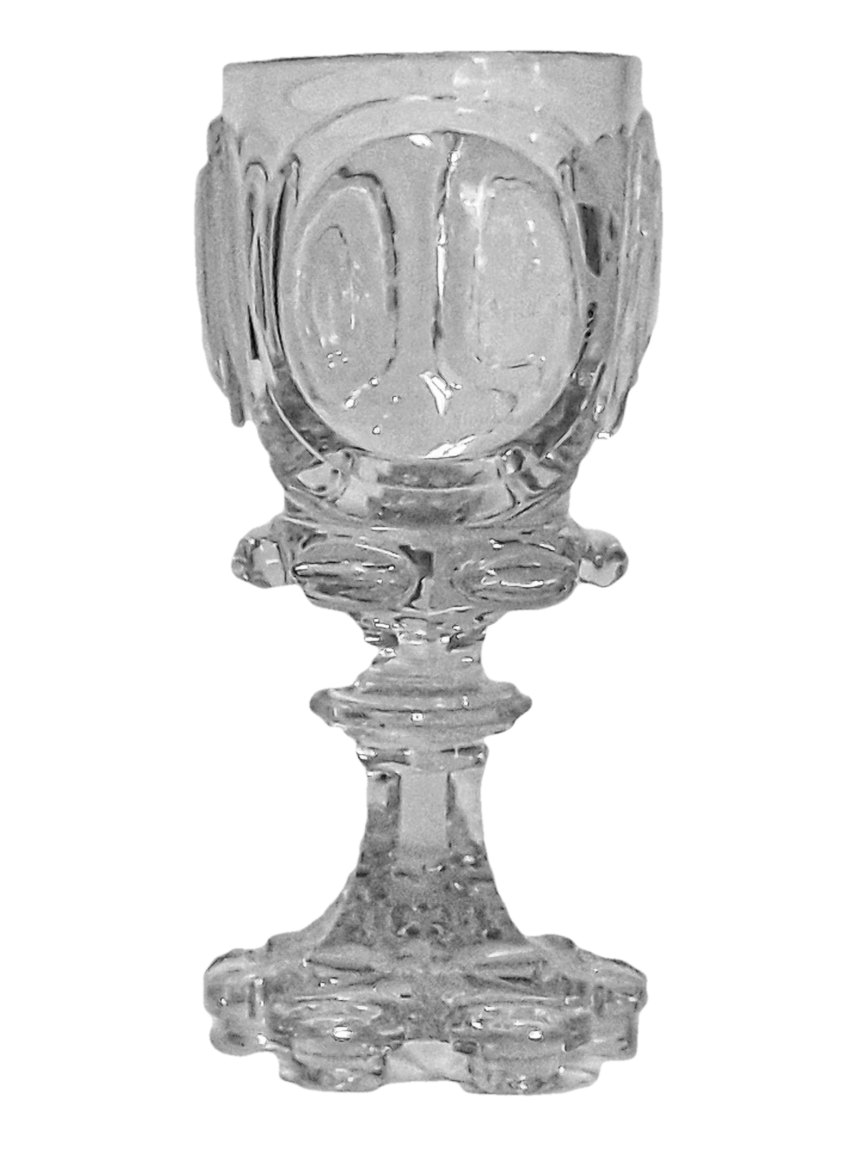 German or Bohemian Cut and Engraved Crystal Goblet. Mid 19th Century