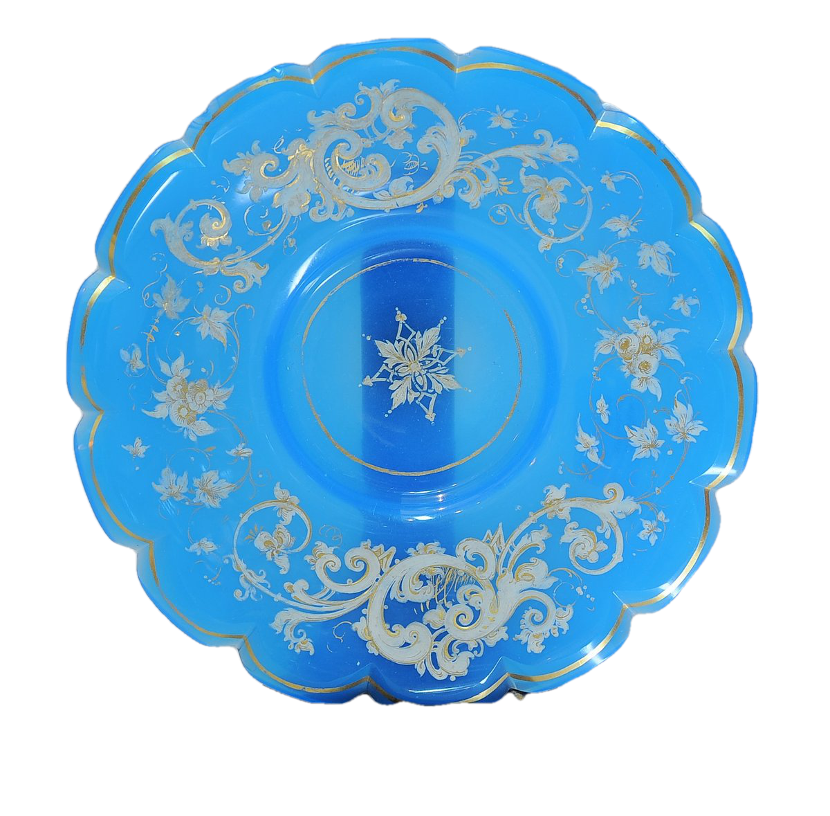 Blue Opaline Gold Gilt Plate