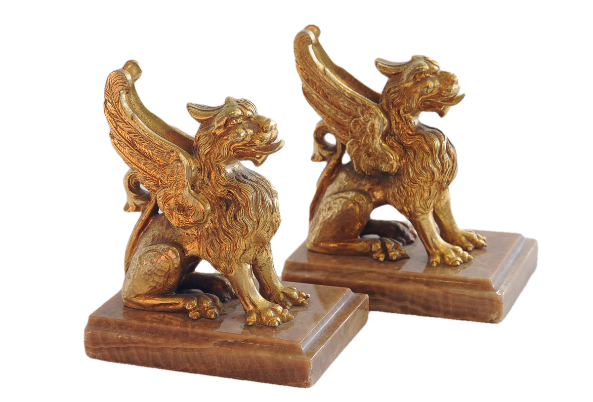 Pair of Ormolu Griffins on Onyx Base