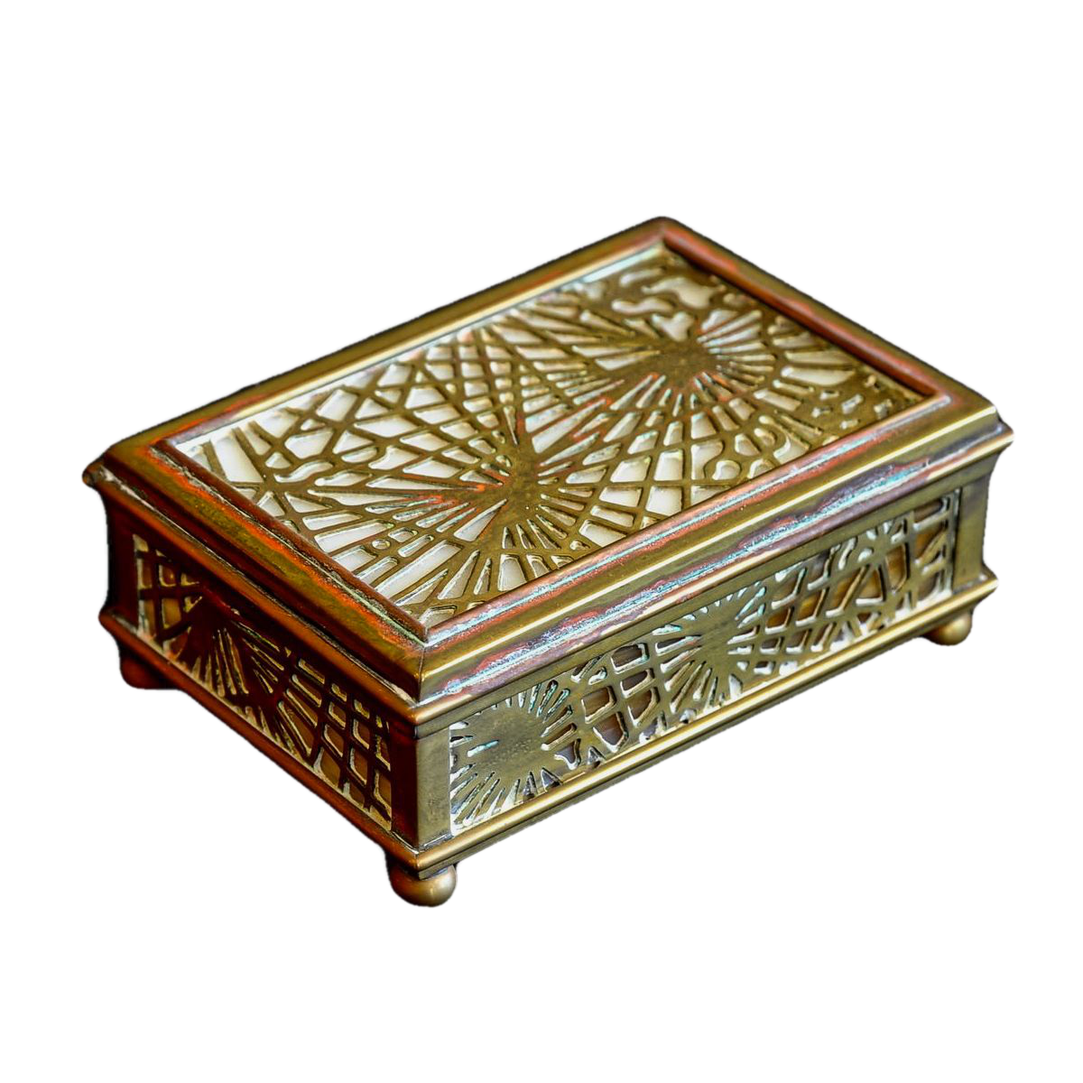 Tiffany Studios Gilt  Bronze and Stained Glass Footed Box