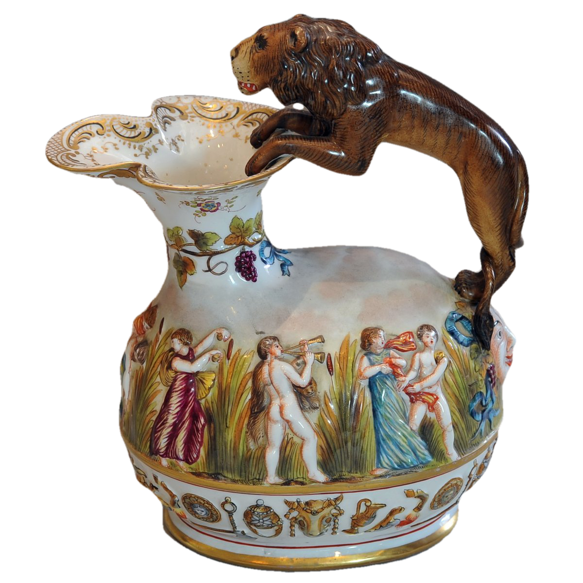 Capodimonte Lion Handled Pitcher Italian, 20th Century