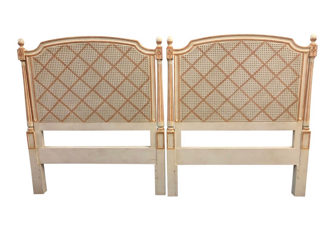 Pair of Regency Style Cane Painted Twin Headboards