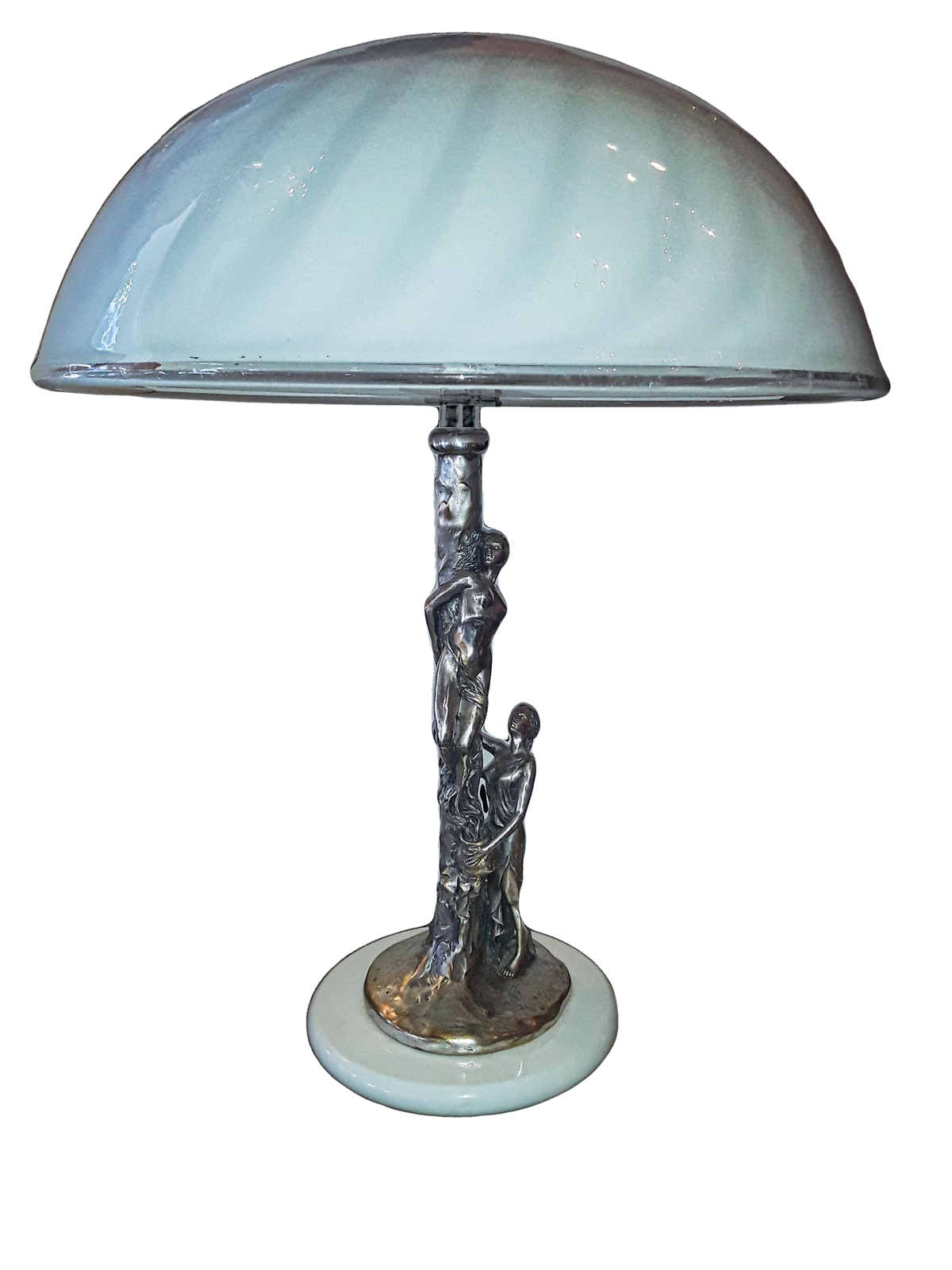 Figural Silver Table Lamp