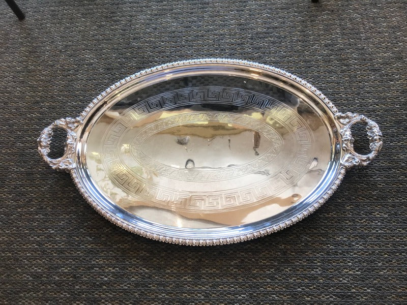 Large Oval Silver Tray With Handles