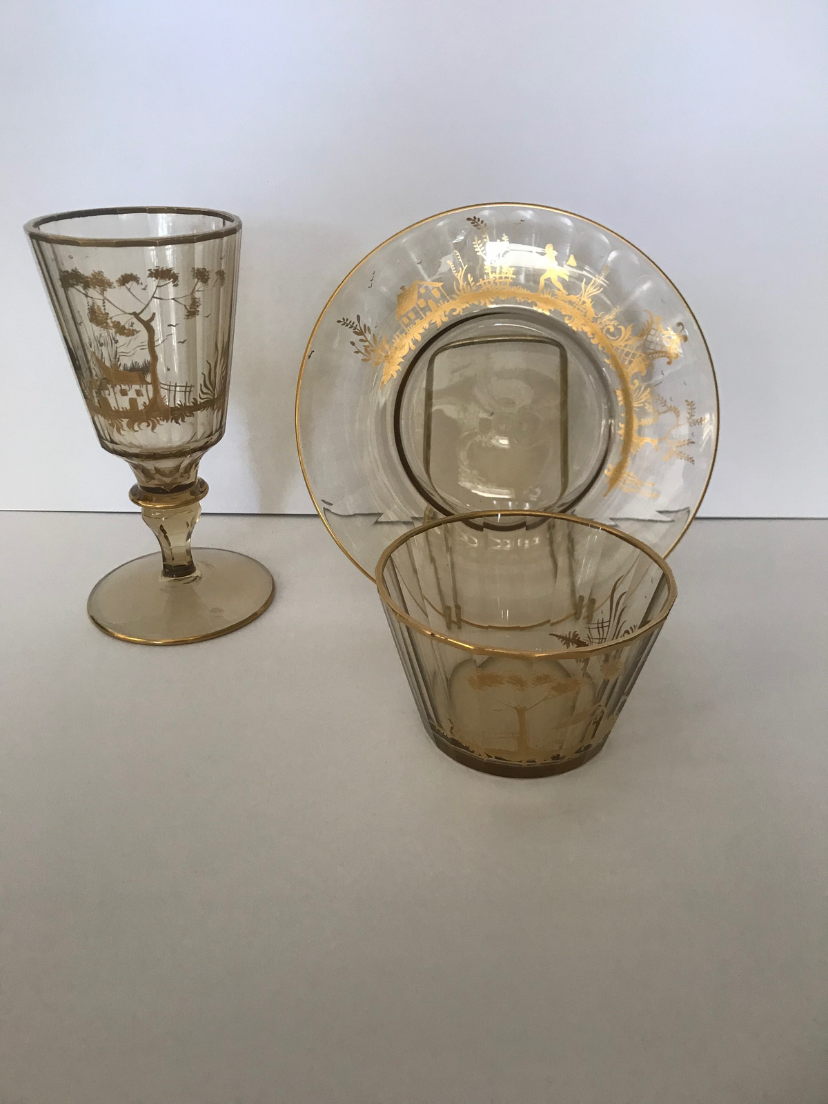 Antique Clear Glass & Gold Decorated Silhouette Set of Plates, Bowls, Goblets