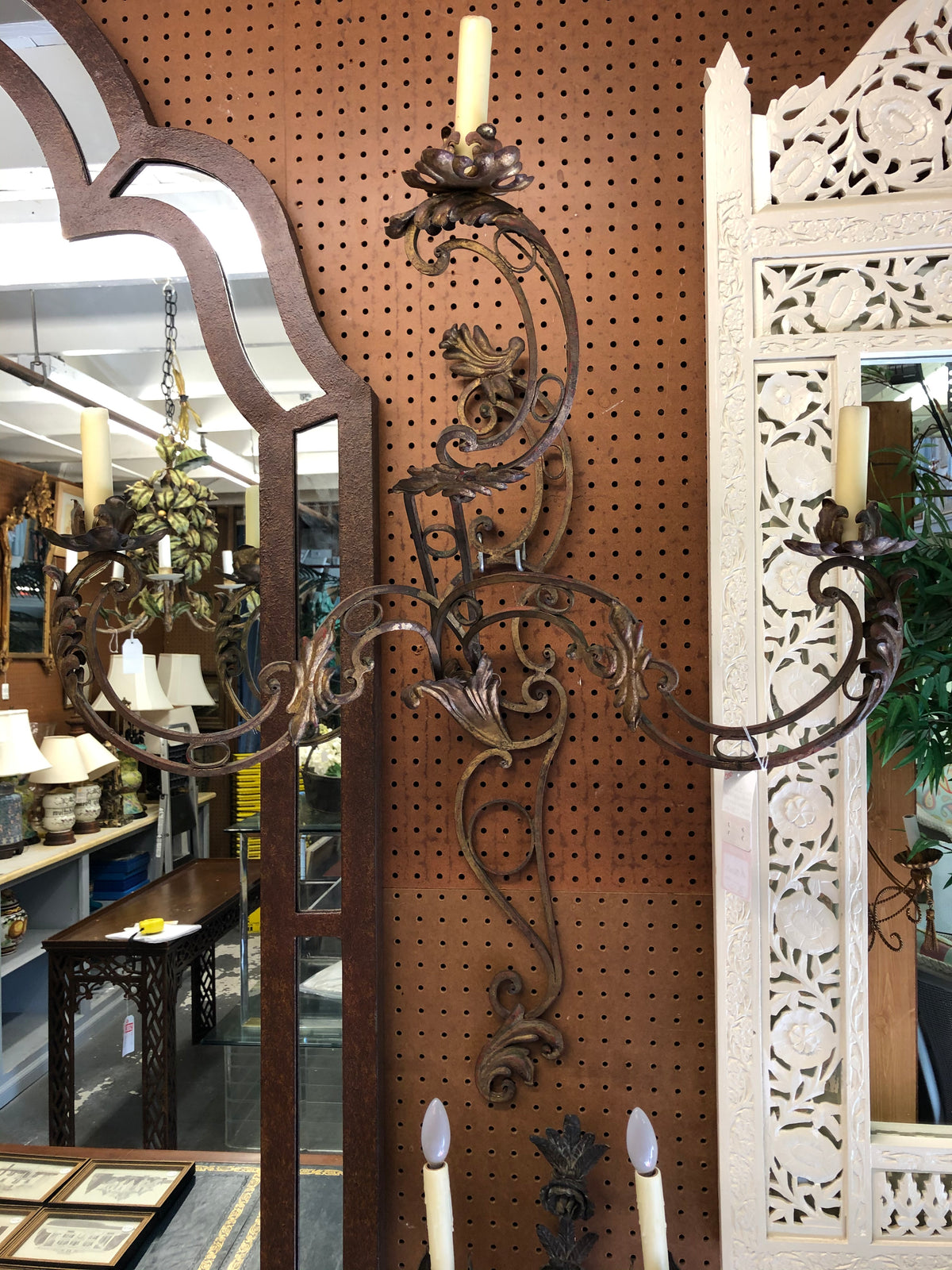 Pair of Metal Gilt Sconces