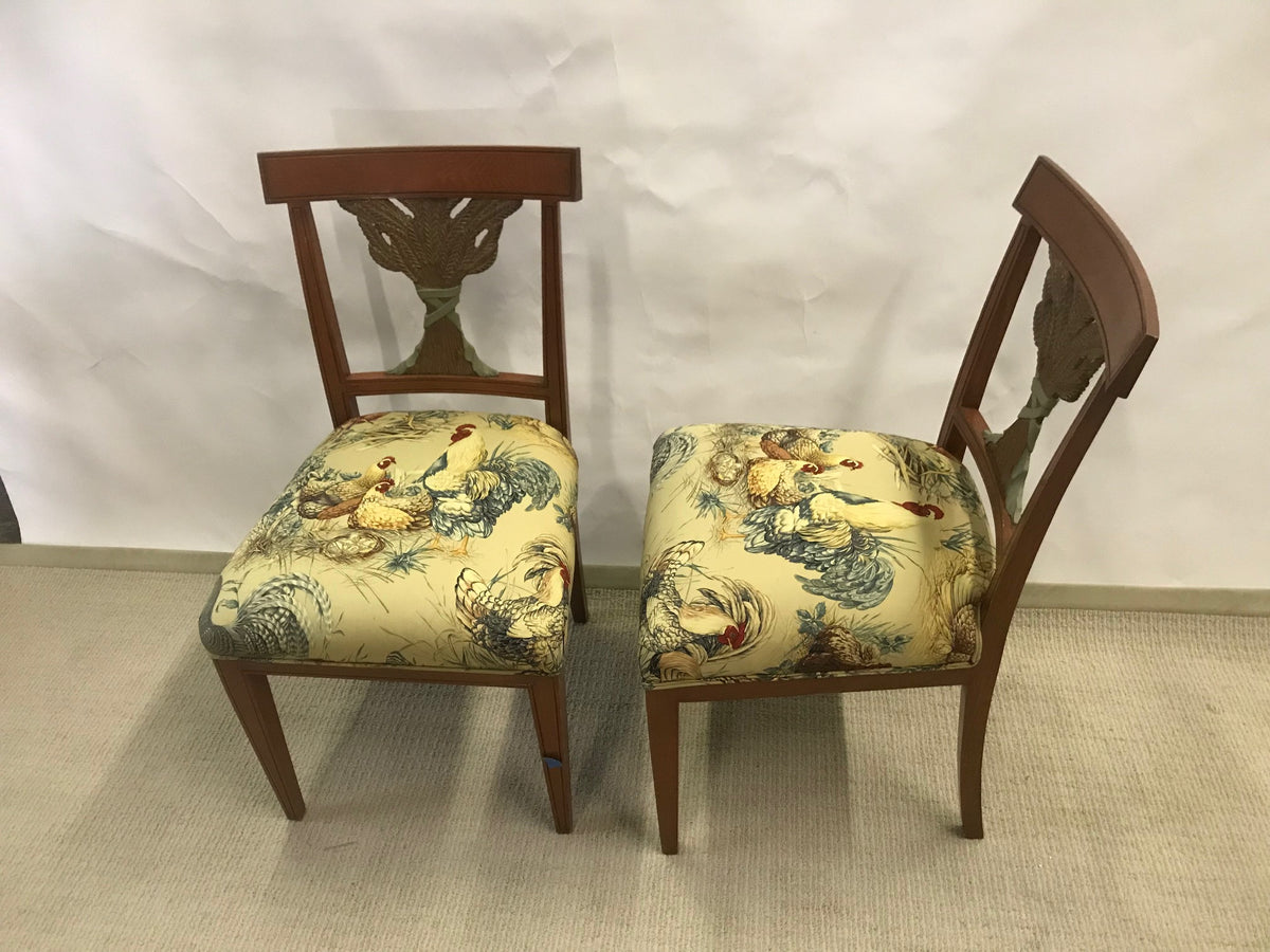 Pair Wheat Sheath Back Chairs W/ Rooster Fabric Seats