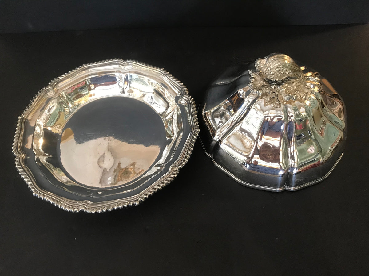Pair French Silver Plate Covered Servers