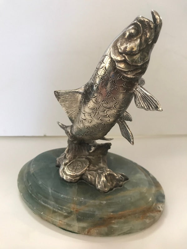 Sterling Fish on Onyx Base