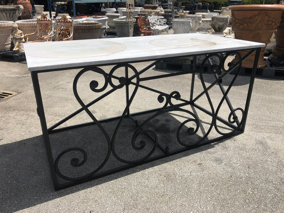 Regency Style Marble Top Iron Table