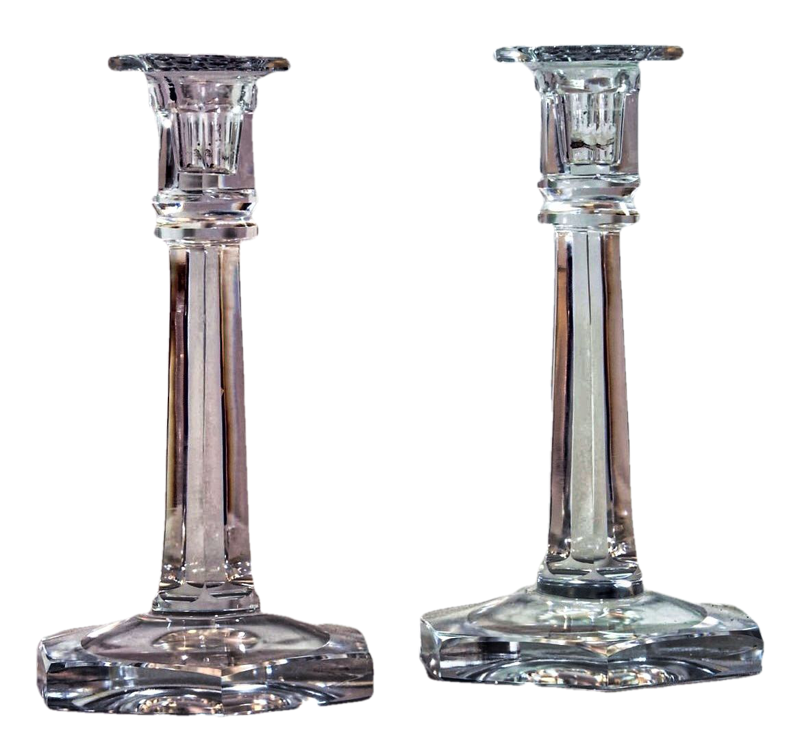 Pair of  Royal Brierley Crystal Candlesticks