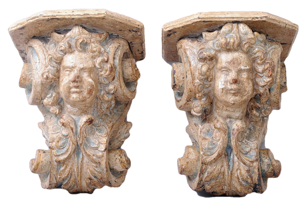 Pair of Carved and Patinated  Figural Wall Brackets. Italian, Late 18th Century