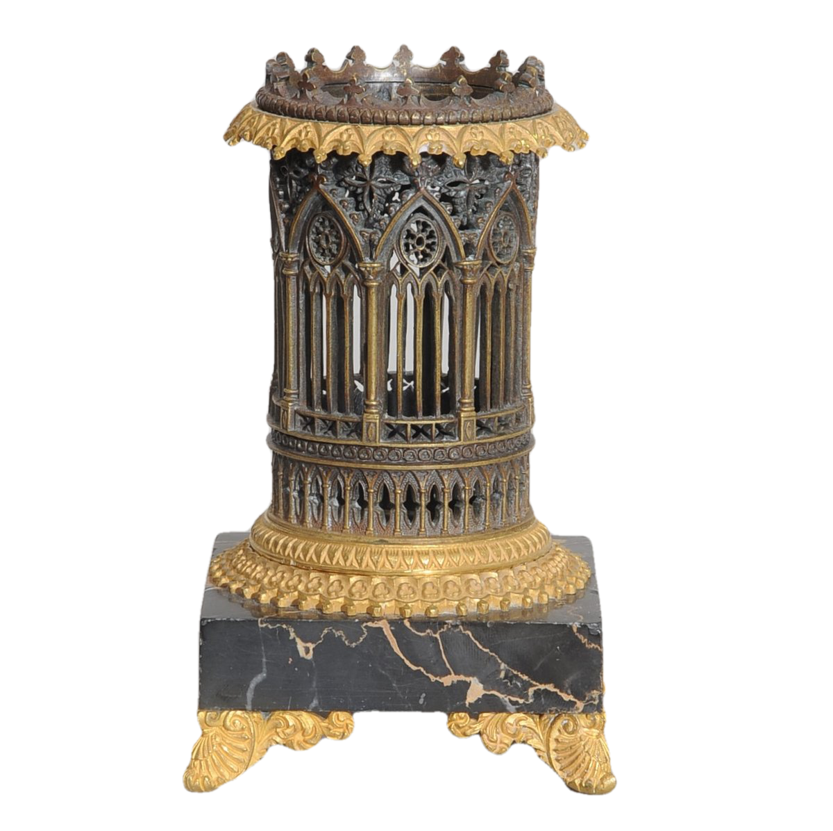 Ornamental Bronze  and Marble-mounted Ecclesiastical Container