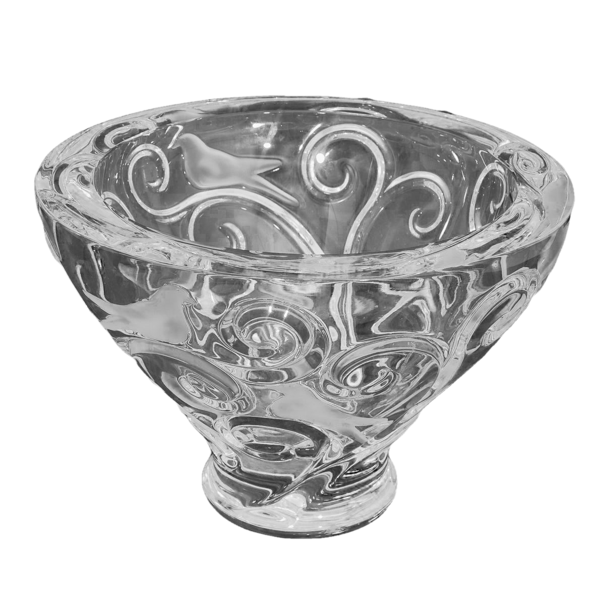 "Lalique ""Verone"" Crystal Footed Bowl. French, 20th Century"